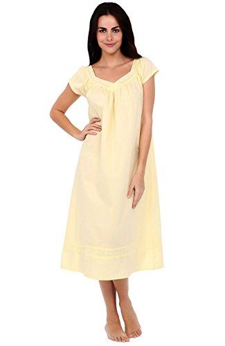 (Alexander Del Rossa Womens Adele Cotton Nightgown, Long Victorian Sleepwear, Medium Sunrise Yellow (A0528YELMD))