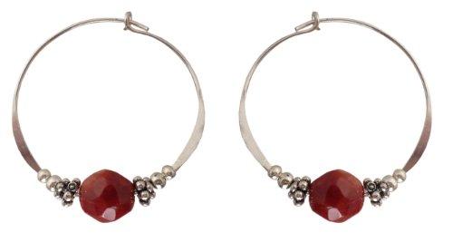 (Bali Sky Large Sterling Silver Red Stone Bead Hoop Earrings SHL016)