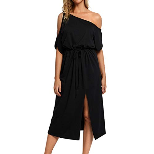 9cdc327709d Women Dress One Cold Shoulder Dress Short Sleeve High Waist Bandage Open  Fork Dress with Belt by Gyouanime Black