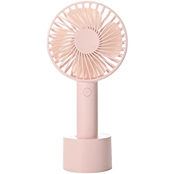 FREEWISE Personal Fan Battery Operated Small 4 Inch hand held Portable USB Rechargeable 3 to 10 Hours Play Time 3 speed (Pink)