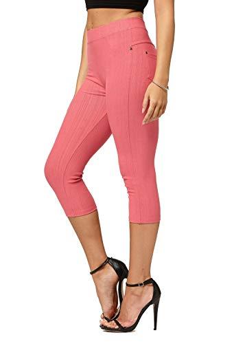(Premium Jeggings - Denim Leggings - Cotton Stretch Blend - Capri Coral Pink - Small/Medium)