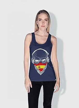 Creo Spain Skull Tanks Tops For Women - S, Blue