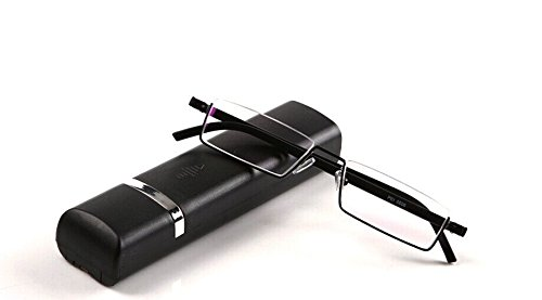 Fashion Matt Black Half Frame Frameless Eyeglasses Stylish Spring lightweight portable Reading Glasses with Protective Case - For Men Glasses Coolest
