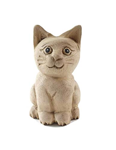 Thai Arts & Creations Modern Handmade Natural Unfinished Wooden Carved Cat- Animal Doll Figurine - Collectibles Decor