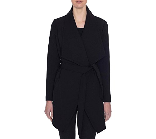 Tahari Draped Trench Wrap Coat Black Large