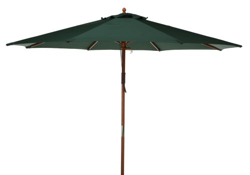 Market Umbrella Fabric: Green, Opening Mechanism: Dual Pulley and Skylight, Pole Material: Teak Hard Wood (Round Market Pulley 4 Umbrella)