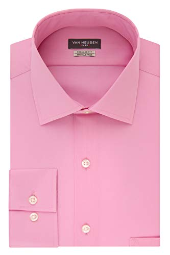 Van Heusen Men's Dress Shirt Regular Fit Flex Collar Solid, Pink Mist, 15