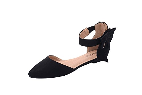 Fabric Ankle Strap - Mila Lady (JOCELYN) Fashion New Ankle Strap with bow Pointy Toe Woman