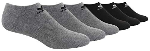 adidas Men's Originals Trefoil Cushioned No Show Socks (6-Pack), Heather Grey/Black/White, Large (Adidas Golf No Show Socks Men)