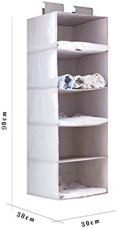 MoGist Hängeaufbewahrung 5 Fächer Hängeregal Organizer Hängeregal kleiderschrank Schrankorganizer für Unterwäsche Socken Kleidung (Weiss)