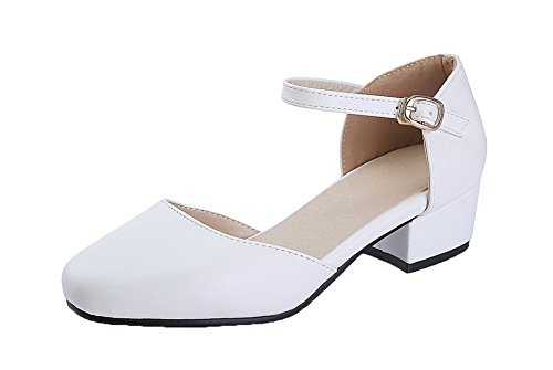 Shoes Buckle Pumps Low Damen EuD58 AgeeMi Schuhe Heels PU Weiß vqSdxFEwwn
