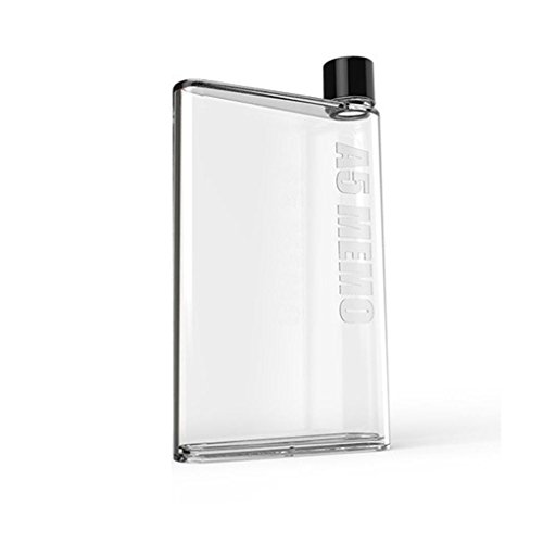 Yeefant Eco-Friendly Anti-corrosion Coating Water Bottle Clear Book Portable Paper Pad Water Flat Direct Drinking Notebook Kettle Hand Cup for Hiking,Not Applicable Boiling Water,400-500ML,White