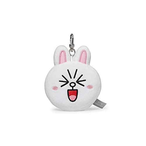 LINE FRIENDS Plush Keychain Ring - CONY Wink Character Face Cute Soft Bag Charm Key Holder, 4 inch, White/Black (Cute Best Friend Lines)