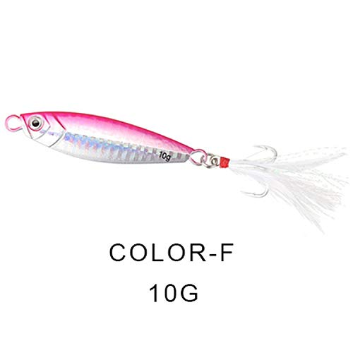 Fall In Love Metal Spinner Jig Hard Bait 10g/20g/30g Saltwater Jigging Lead Fishing Lure Laser Body Sinking Bait Crap Fishing Tackle,10F (Spin N-glo Bodies)
