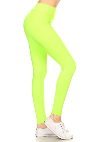 Leggings Depot YOGA Waist REG/PLUS Women's Buttery Soft Solid Leggings 16+Colors (Plus (Size 12-24), Neon Green)
