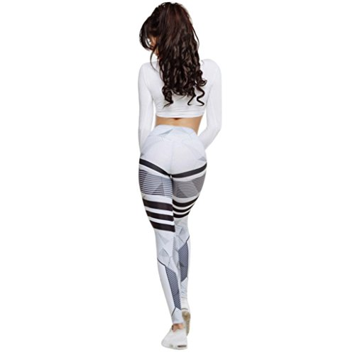 (Athletic Leggings, Gillberry Women High Waist Yoga Fitness Leggings Running Gym Stretch Sports Pants Trousers (White, S))