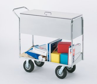 Charnstrom Long Solid Metal Mail Cart with Locking Top and 8-Inch Tires (B285) by Charnstrom