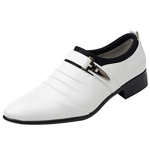 Limsea 2018 New British Fashion Men's Leather Pointed Toe FOrangemal Wedding Shoes (White,7.5)