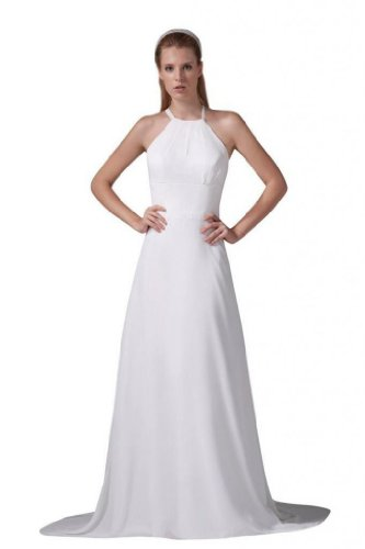 Dearta Women's A-Line Scoop Neck Sweep Train Wedding Dress US 18 (A-line Scoop Sweep)