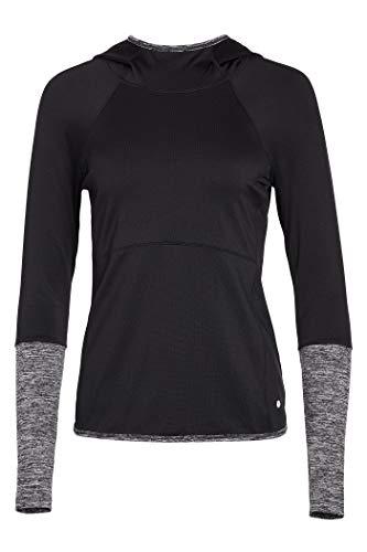 Layer 8 Women's Cold Gear Fleece Top with Hood (Medium, Black Soot)