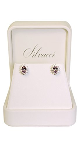 Boucles d'oreilles argent amethyste princesse Diana Silvacci