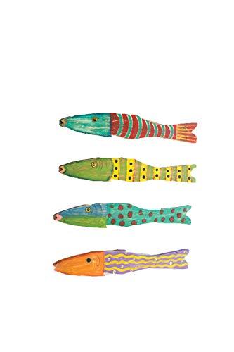 KALALOU A5688 SET/4 RECYCLED WOOD ANTIQUE FISH