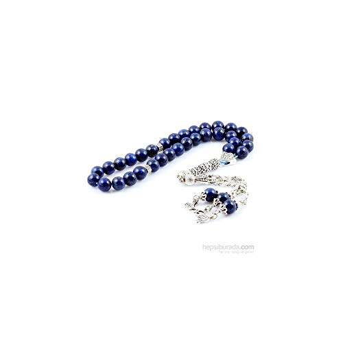 - Muslim Prayer Beads -%100 Natural Lapis Lazuli Stone - Blue - 33 Beads - Decorated Tassels Made in Turkey & Tasbih & Muslim Rosary & Islamic Art & Islamic Gift