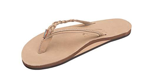 Rainbow Sandals Women's Flirty Braidy Premier Leather w/Single Braided Strap, Sierra Brown, Ladies X-Large / 8.5-9.5 B(M) US (Rainbow Sandals Thin Strap)