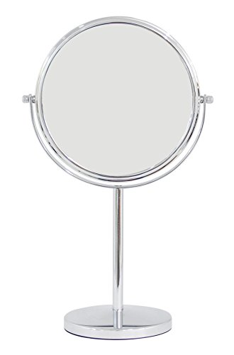 Tall Vanity Stand Chrome Mirror - Two-Sided (1X-3X) Countertop Tabletop Vanity Makeup Mirror - Silver Tall Stand Chrome Finished