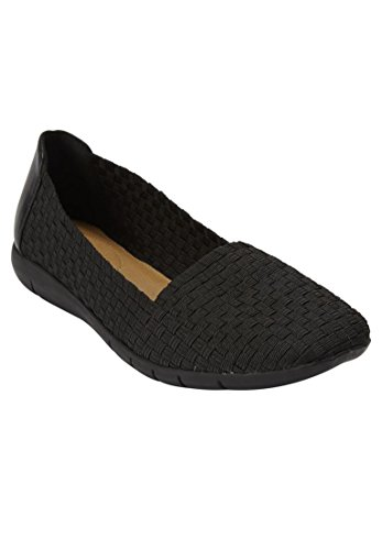 Comfortview The Bethany Flat - Black, 7 1/2 W (Stretch Heels Nylon)