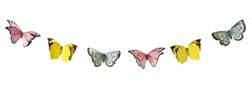 Talking Tables Truly Fairy Hanging Butterfly Bunting, 8 Ft, Multicolor (2-Pack) ()