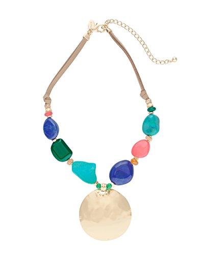 Chicos Womens Multi Colored Stone Pendant Statement Necklace