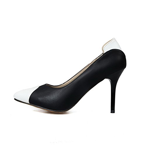 VogueZone009 Women's Soft Material Pointed Closed Toe High-Heels Pull-on Pumps-Shoes Black hqNpvI