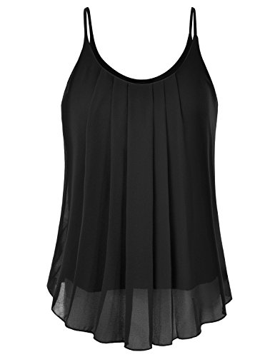 EIMIN Women's Pleated Chiffon Layered Sleeveless Cami Tank Tunic Top Black ()