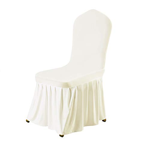 uxcell Stretch Spandex Round Top Dining Room Chair Covers Long Ruffled Skirt Slipcover for Wedding Banquet Party Chair Covers Beige 1pc ()