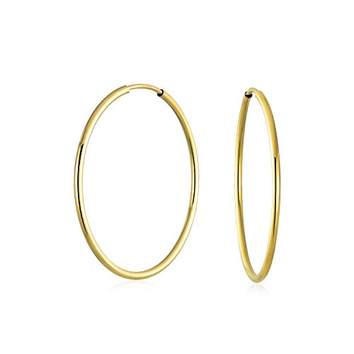Minimalist Round Endless Continuous Thin Tube 10K Yellow Gold Filled Hoop Earrings For Women Shinny Finish 1 inch - Hoop Earrings 10k Tube