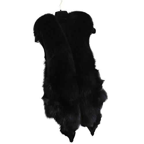 PATTONJIOE Fur Coat, Women's Fox Fur Vest Real Fur Sleeveless Winter Warm (Mink Fox Fur Coat)