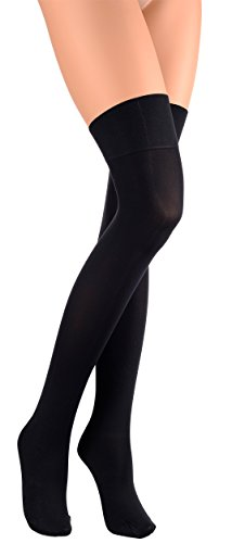 - Trasparenze Caballero Opaque Over the Knee Stockings/Socks- Made in Italy (Black, Large/XL)