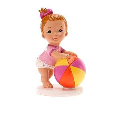 Figurita en resina para pastel, niña con pelota, para bautismo o ...