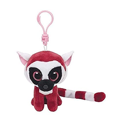 Ty Beanie Boos - LEEANN the Pink Lemur (Glitter Eyes) (Plastic Key Clip)
