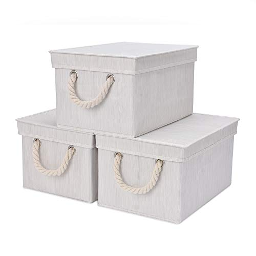 StorageWorks Storage Bins with Lid and Cotton Rope Handles, Foldable Storage Basket, Mixing of Beige, White & Ivory, Bamboo Style, 3-Pack, Large,14.4x10.0x8.5 inches (LxWxH)