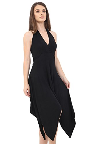Midi Fashions 26 Hanky amp;Ayat AUS 8 Black Hem Size Jersey Dress Lightweight Momo Halterneck Ladies qpC5aw8