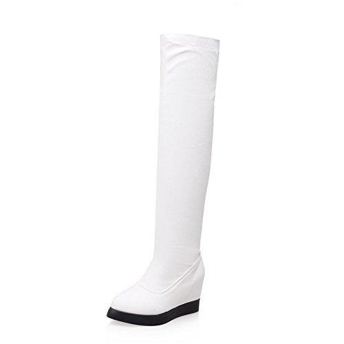 AgooLar Damen PU Überknie Hohe Stiefel Stiefel Rein Ziehen auf Mittler Absatz Stiefel, Rot, 35