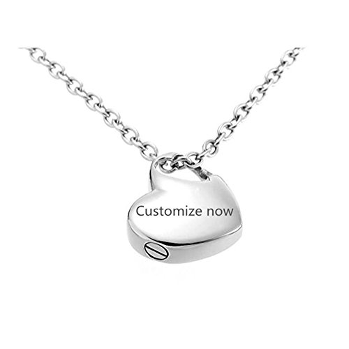 Sunling Custom Engravable Stainless Steel Name Date Heart Urn Necklace for Human Pet Ashes Memorial Keepsake Cremation Pendant for Men,Women,Kids,Dad,Mom,Dog,Cat,Free Engraving