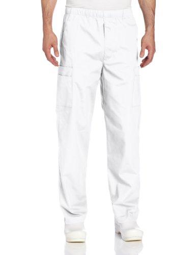 Landau Men's Comfort 7-Pocket Elastic Waist Drawstring Cargo Scrub Pant, White, Medium