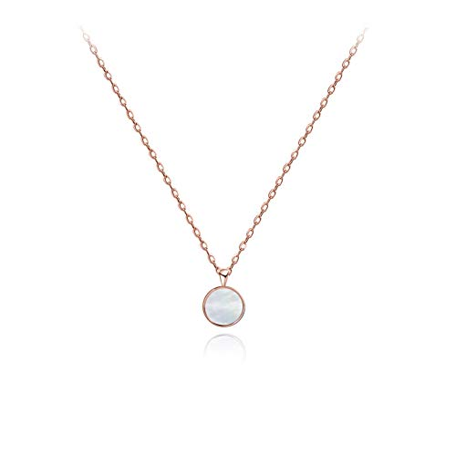 S.Leaf Tiny Round Mother of Pearl Necklace Sterling Silver Circle Disc Pendant Shell Pendant Necklace (Rose Gold) ()