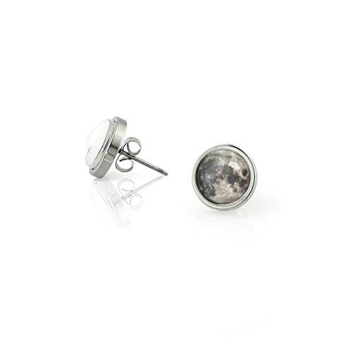 WUSHIMAOYI Full Moon Earrings Full Moon Stud Earrings Space Picture Earrings Space Stud Earrings Space jewelry patterned style Earrings for women gift