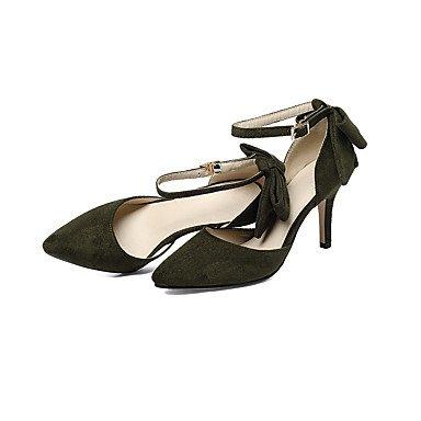 Talones de las mujeres Zapatos Primavera Verano Otoño Club de microfibra para oficina y del partido de la carrera y del vestido de noche del tacón de aguja del Bowknot Negro Ejército Verde Beige Beige