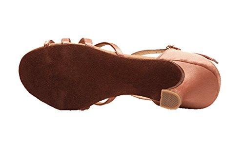 Miyoopark Ks28 Kvinna T-rem Satin Latin Salsa Balsal Bröllop Sandaler Nude-7.5cm Häl
