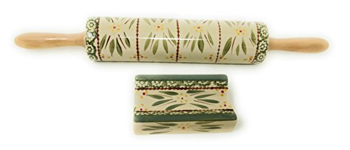 Temp-tations Rolling Pin with Stand - Stoneware (Old World Green)